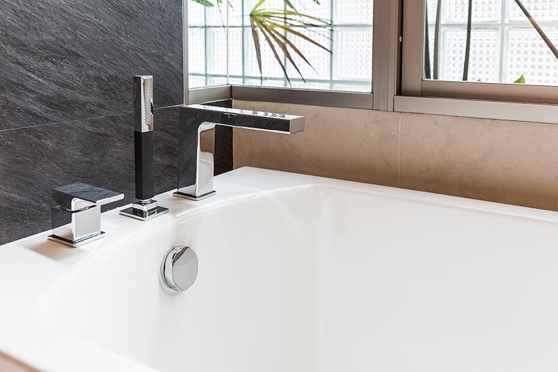 Closeup of bathtub in home